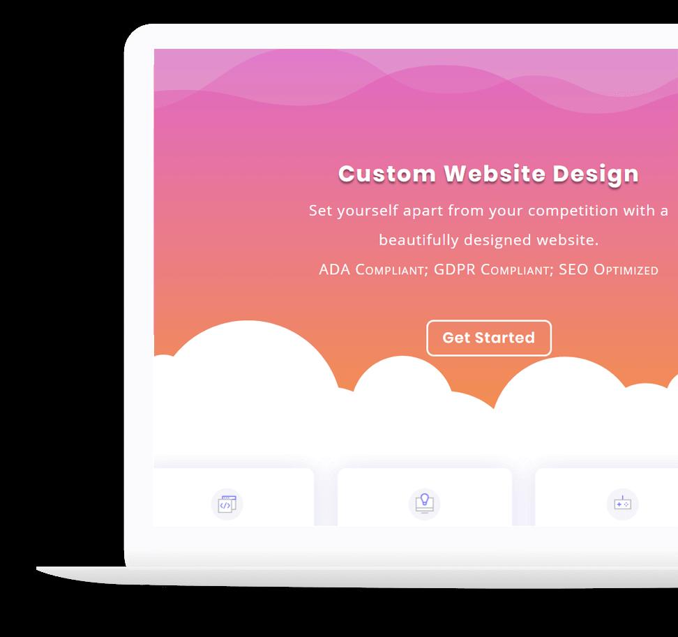 laptop clouds custom website design jay web media